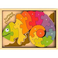 BeginAgain Counting Chameleon Bilingual Wooden Puzzle - Puzzle Haven