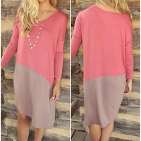 Sunrise To Sunset Rose & Tan Color Block Long Sleeve Dress With Hi-Low Hem