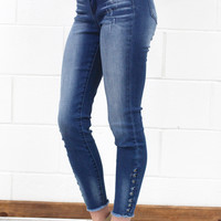 Studded Details Raw Edge Ankle Jeans {Medium Wash}
