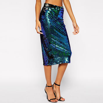 Sexy Bodycon Sequined Slim High Waist Pencil Skirts Quality Brand Spring New Euro Us Style