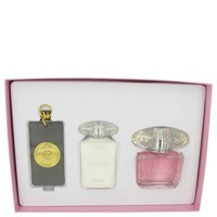 Gift Set -- 3 oz Eau De Toilette Spray + 3.4 oz Body Lotion + Gold Versace Key Chain