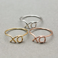 XO Hug and Kiss Ring / XO Ring  - available color as listed (Gold, Silver, Pink Gold)