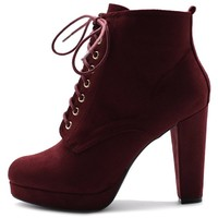 Ollio Women's Shoe Faux Suede Lace-up Platfrom Ankle Chunky Heel Booties (7 B(M) US, Wine)