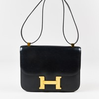 "Hermes Vintage Black & Gold Box Calf Leather 'H' ""Constance"" Flap Bag"