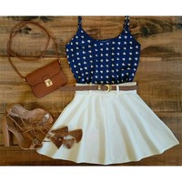 448210 Cute blue and white patchwork o-neck sleeveless mini dress | Candy Blue Shop