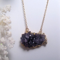 February Amethyst Necklace - Double Hook Druzy Crystal Pendant - Raw Geode - Purple - Chain length Optional