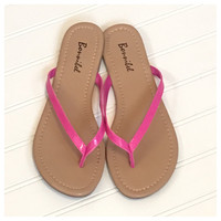 INSANITY CLOSEOUT! Forever Faithful Classic Strap Vibrant Pink Flip Flops, Sandals