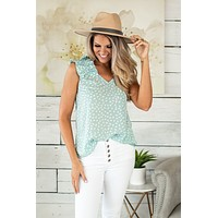 Just Having Fun Spotted Ruffle Sleeve Top : Mint