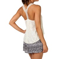 Sale-ivory Texture Crochet Tank Top