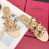 Valentino Summer Stylish Women Casual Flat Rivet Slippers Sandals Shoes Apricot