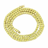 Tennis Link Necklace Chain 4 MM Canary Simulated Diamond 1 Row Stainless Steel