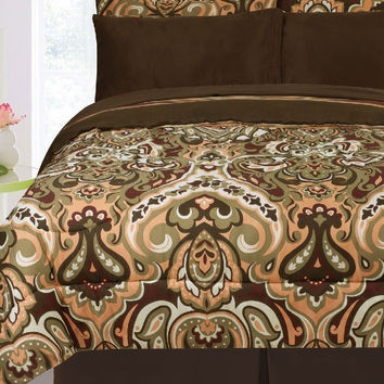 Kids Bedding- 3pc Biloxi Reversible Comforter Set- Sage/ Chocolate/ Coral