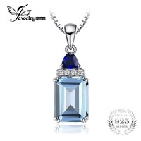 JewelryPalace 1.5ct Emerald Cut Genuine Sky Blue Topaz Created Sapphire Pendant 925 Sterling Silver Jewelry Not Include A Chain