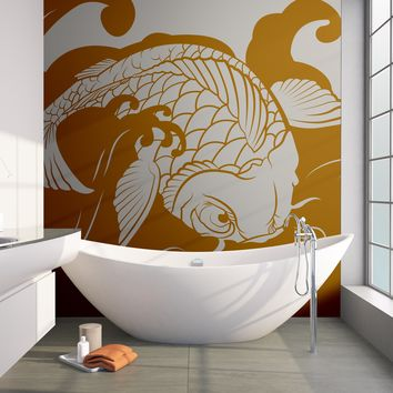 Japanese Koi Fish Wave Wall Decal Sticker. #OS_MB118