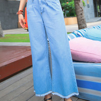 Blue Ripped Hem Flared Jeans