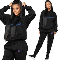 Champion Women Leisure Round Collar Logo Print Pullover Sweater Pants Trousers Set Two-Piece