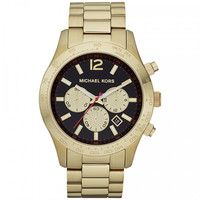 Michael Kors MK8246 Men's Layton Black Dial Gold Tone Stainless Steel Chronograph Watch