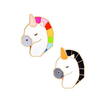 Trendy Cartoon Creative Colorful Horse Enamel Pin Animal Brooch Badge Lapel Denim Jackets Pins Brooches For Women Men Fashion Jewelry AT_94_13