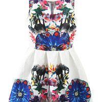 Multicolor Mirror Elephant and Floral Print Sleeveless Sheath Mini Skater Dress