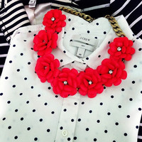 J. Crew Inspired Beaded Rose Flower Statement Necklace