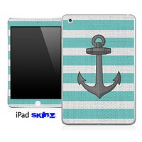 Anchor Vintage Striped Aqua Green Skin for the iPad Mini or Other iPad Versions