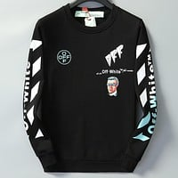 Boys & Men OFF White Casual Edgy Top Sweater