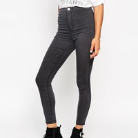 ASOS Rivington Ankle Grazer Jeggings In Nile Wash Charcoal