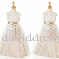 Champagne Whiter Lace Flower Girl Dresses Party Evening Prom Dresses Wedding Events