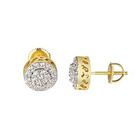 Cluster Set Halo Earrings 14k Yellow Gold Finish Simulated Diamonds Studs 10mm
