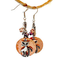 Siamese Cat Earring Made With Swarovski Crystal Elements, Halloween Jewelry, Fall Accessories