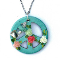 Flower Power Peace Sign Necklace Bohemian Hippie Funky Jewelry FREE SHIPPING