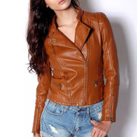 Casual Leather Zipper Front Jacket
