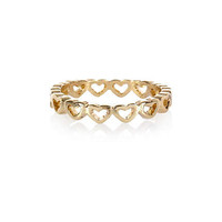 Gold tone heart thumb ring