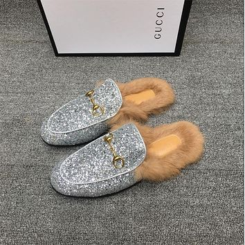 Gucci Fashionable hairy semi slippers
