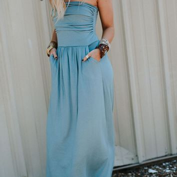Making Waves Strapless Maxi Dress - Blue