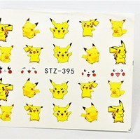 5 Sheet Nail Art Pikachu Nail Decal, Pokemon Nail Design, Assorted water transfer nail art, Anime Nail Decal, Pokemon Nail Design, Cartoon Nail Art, Easy to apply Decals, Waterslider, Sticker