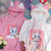 Kawaii Sailor Moon Luna Hoodie Sweater sold by Moooh!!