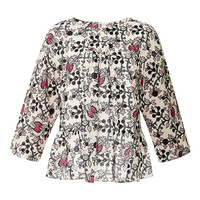 Lis Embroidered Printed Cotton Top
