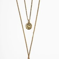 Brandy ♥ Melville |  Double chain coin necklace - Necklaces - Jewelry - Accessories