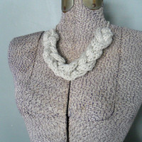 Chunky Knit Necklace, Glacier Gray Rope Necklace, Knitted Jewelry, Grey Braided Necklace