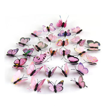 12 pcs pack 3D Pink Butterfly wall stickers home decor on the wall DIY art for bedroom kids rooms or Holiday wedding decoration