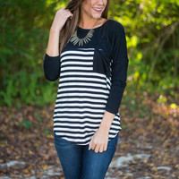 Stripe Up The Band Top, Black