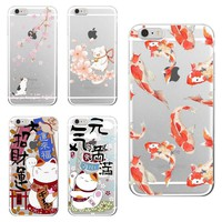 For iPhone 5S 6S 6Plus 7Plus 7 SE 8 8Plus X Samsung Galaxy S8 Koi Fish Cherry Blossom Lucky Cat Japanese Pattern Soft Phone Case