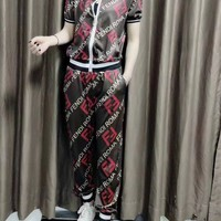 """""""FENDI"""" Women Casual Fashion Sports Suit Printing Personality  Zipper Short Sleeve Trousers Set Two-Piece Clothes"""