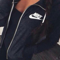 "[ LIMITED TIME SALE & FREE SHIPPING ] High Quality Women ""NIKE"" Printed Autumn Casual Hooded Zip Knitwear Cardigan Sweatshirt Jacket Coat _ 9251"