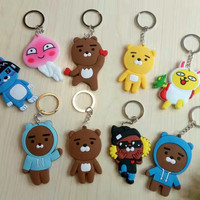 New Arrival Ryan Apeach Muzi Double-sided PVC Pendant Cartoon Kawii Keychain Good Gift for Girl boy Friend