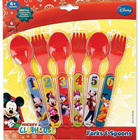Mickey Mouse Six Piece Fork & Spoon Set