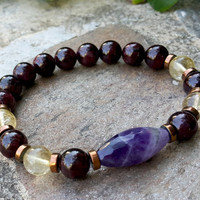 Men's Mala Bracelet, Mens Yoga Jewelry, Purple Amethyst, Red Garnet, Yellow Citrine, Gemstone Stretch Stacking Yoga Jewelry, Protection
