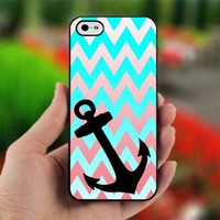 Chevron Blue Anchor - Photo on Hard Cover For iPhone 4,4S