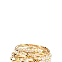 FOREVER 21 Twisted Faux Pearl Bangle Set Gold/Cream One